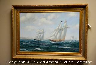 Oil on Canvas of Saling Ships from Modern Artist, Robert Sanders