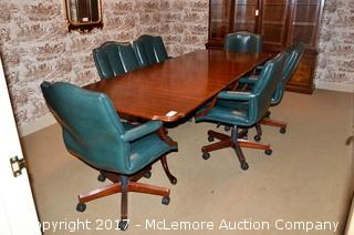 Solid Wood Conference Table & 6 Chairs