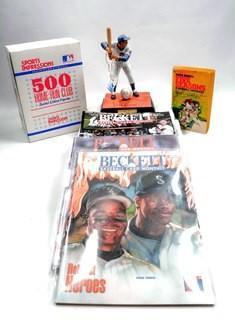 Ernie Banks Baseball Figurine, Baseball Book and Three Back Issues of Beckett Baseball Card Weekly