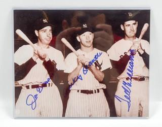 Autographed 8 x 10 Photo of Joe DiMaggio, Mickey Mantle and Ted Williams