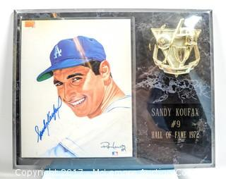 Plaque with Print Signed by Sandy Koufax, New in Wrapper