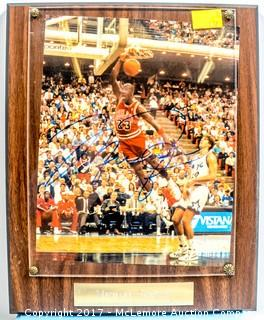 Plaque with Photograph Signed by Michael Jordan, New in Wrapper