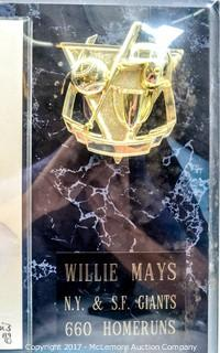 Plaque with Print Signed by Willie Mays, New in Wrapper