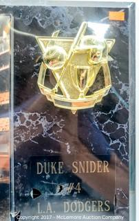 Plaque with Photograph Signed by Duke Snider, New in Wrapper