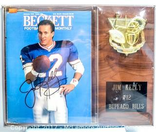 Plaque with Issue of Beckett Football Monthly Signed by Jim Kelly, New in Wrapper