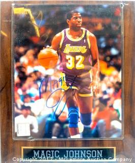 Plaque with Photograph Signed by Magic Johnson