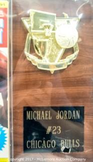 Plaque with Magazine Signed by Michael Jordan