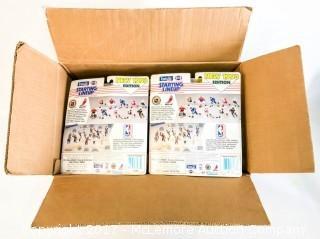 Box of New Starting Lineup Football and Baseball Figurines