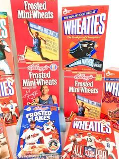 Assortment of Sports-Themed Cereal Boxes
