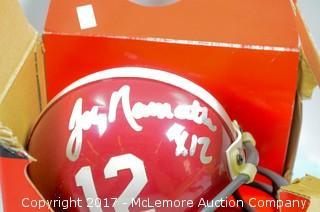 Unused Lil' Riddell Alabama Crimson Tide Mini Helmet Signed by Immortal Tide Great Joe Namath
