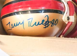 Unused Lil' Riddell San Francisco 49ers Mini Helmet Signed by Jerry Rice