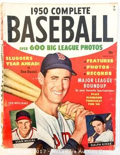 Vintage 1950 Baseball Magazine Featuring Ted Williams