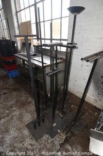 Assortment of Display Stands and Halogen Floor Lamp