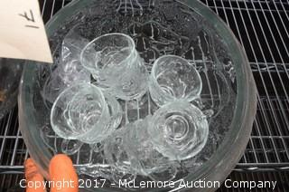 Two Glass Punch Bowls with Cups and Ladles
