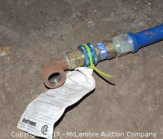 Two Service and Food Industry Blue Gas Hoses with Fittings
