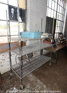 Rolling Metro Chrome Wire Shelving and Contents