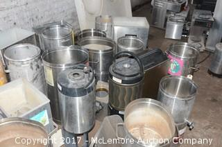 Large Assortment of Commercial Tea Urns and Other Drink Dispensers