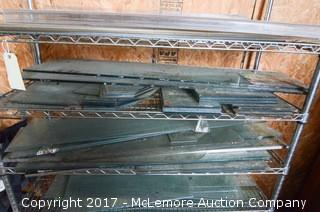 Assortment of Glass Panes and Rolling Chrome Wire Shelves