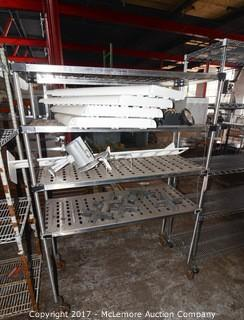 Metro Stainless Steel Rolling Dry Storage Shelves with Contents