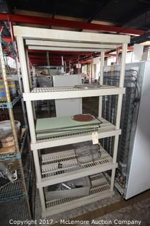 Plastic Storage Shelves and contents