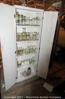 Wooden Cabinet with Contents of Glass Canning Jars and Other Jars
