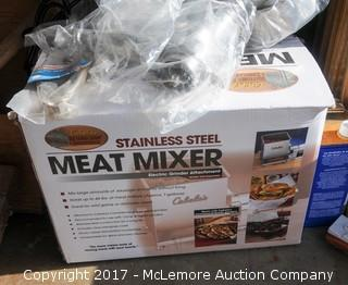 Cabelas Stainless Steel Meat Mixer with Scales, Foot Pedal, Freezer Bags, Hand Mixer and Catfish Pliers