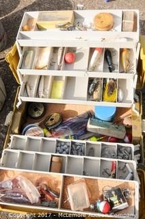 Large Assortment of Fishing Poles, Nets, Tackle Boxes with Tackle and Minnow Buckets