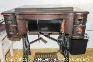 Antique White Pedal Sewing Machine with Cabinet
