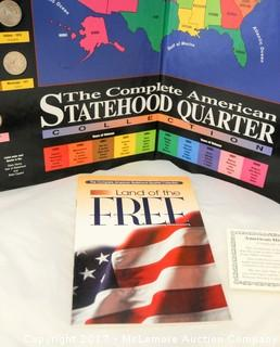 ThreeAmerican Statehood Quarter Collection Books And Coins