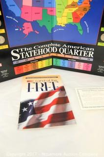 Two American Statehood Quarter Collection Books And Partial Sets Of Coins