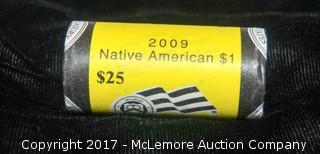 2009 Roll Of 25 $1 Native American Coins, 2009 Silver $1 Shawnee Nation Coin, 2010 Uncirculated Kennedy & Native American Coin Set