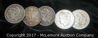 Five One Dollar Coins-1884, 1885, 1887, 1890, 1891