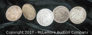 Five One Dollar Coins-1891, 1896, 1899, 1900, 1900