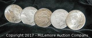 Five One Dollar Coins-1923, 1923, 1923, 1924, 1927