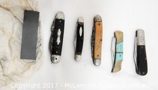 5 Pocket Knives and Sharpening Stone