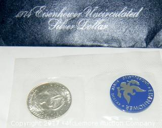 1974 Eisenhower Silver Dollar and 2009  Lincoln Cents from D and P Mints