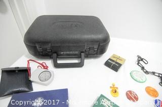 Camera Case, Vintage Political Buttons and Antique Railroad Lock