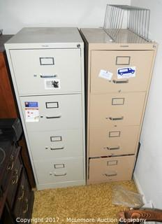 2 Metal 4 Drawer Filing Cabinets