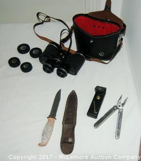 Knife, Leatherman Tool and Binoculars with Case