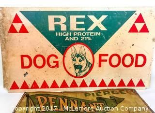 Vintage Motor Oil and Dog Food Signs