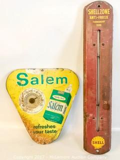 Vintage Cigarette Sign & Oil Temperature Gauge