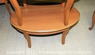 Two Oval Wood Tables
