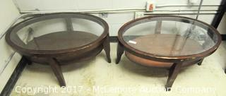 Two Glass Top Oval Tables