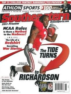 Trent Richardson Unsigned Alabama Crimson Tide Athlon Sports 2011 College Football Southeastern SEC Preview Magazine