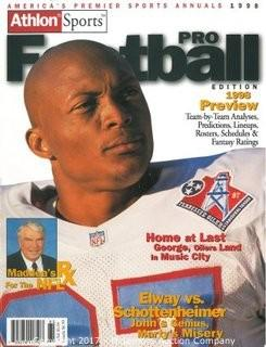 Eddie George Unsigned Tennessee Oilers/Titans Athlon Sports 1998 NFL Pro Football Preview Magazine