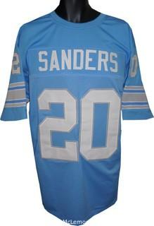 Barry Sanders Unsigned Blue TB Custom-Stitched Pro Style Football Jersey