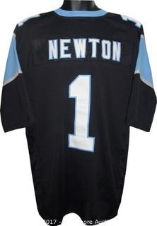 Cam Newton Unsigned Black Custom-Stitched Pro Style Football Jersey