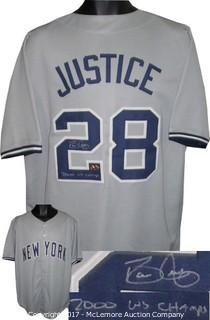 Dave Justice Signed Gray TB Custom Stitched Baseball Jersey