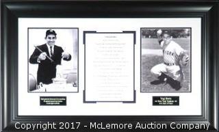 Yogi Berra Unsigned, Custom-Framed, New York Yankees 2-Photo 34X21 Plaque