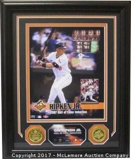 Cal Ripken, Jr. Unsigned, Custom-Framed Baltimore Orioles Hall of Fame Induction 8x10 Photo With 2 Highland Mint Coins